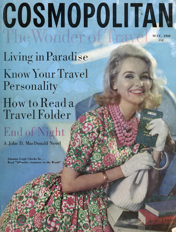 "Cosmopolitan magazine cover, ""The Wonder of Travel—Living in Paradise..."""